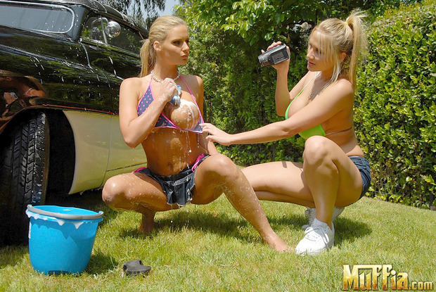 They can wash my car :-); Babe Big Tits Blonde Hot