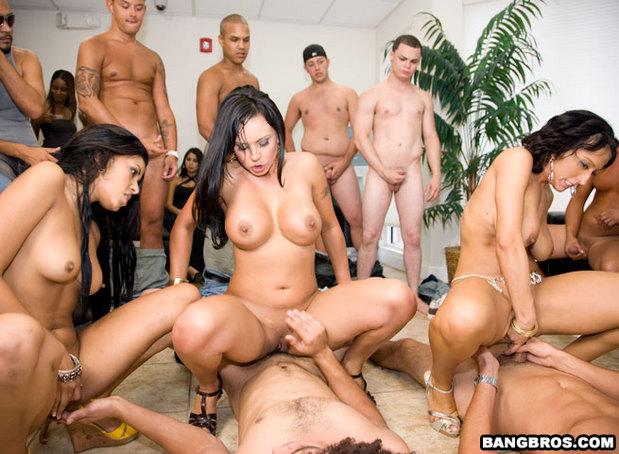 Ebony group sex babe gargles cum 9