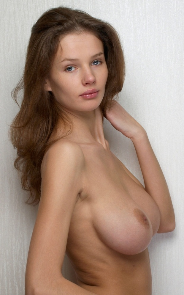 Brunette with large breasts video