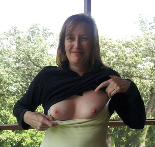 Flashing boobs wife their