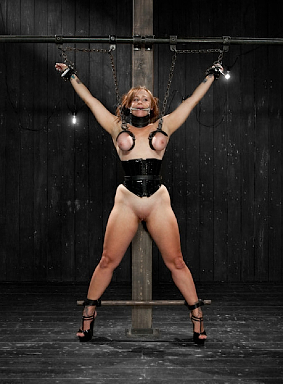 Redhead in chains; Bdsm Red Head