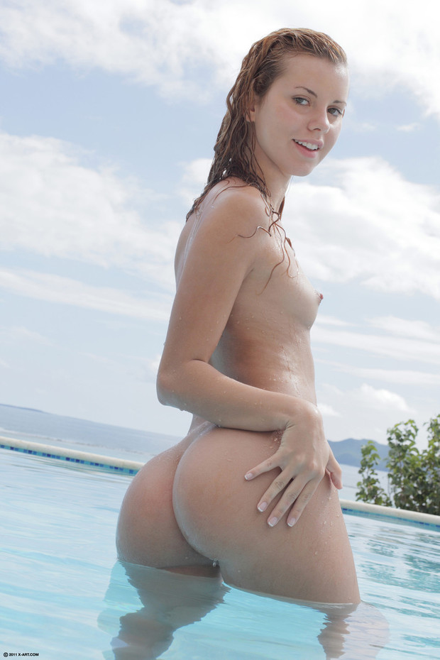Soaking wet Carmen posing in the pool; Ass Babe Blonde Hot