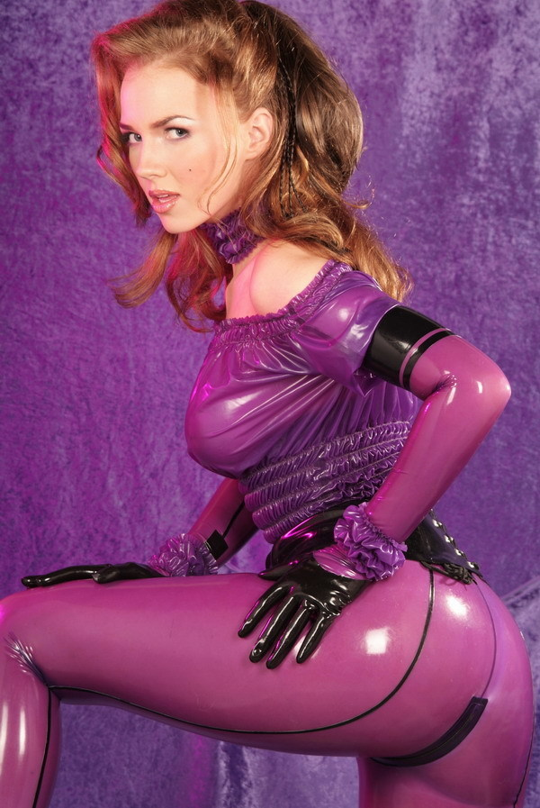 Ancilla Tilia in purple latex; Ass Big Tits Blonde Uniform