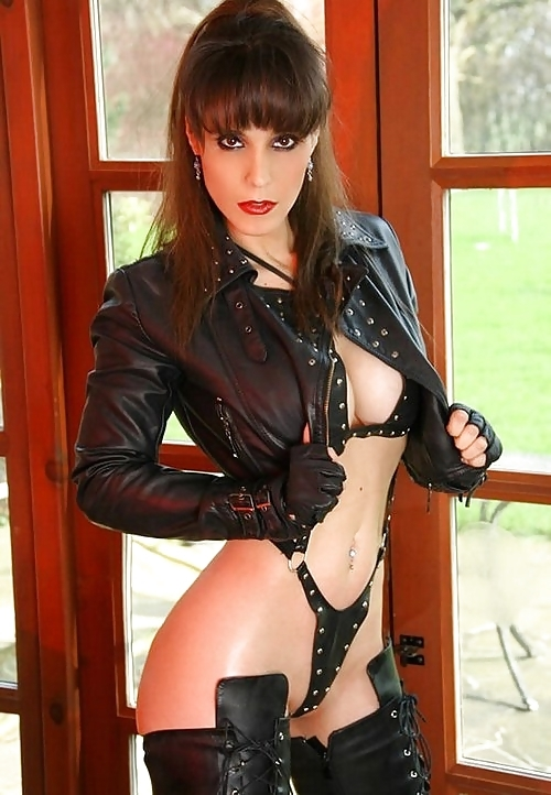 ...; BDSM Big Tits Boots Brunette Leather Lingerie Non Nude Panties Slender Tall Uniform