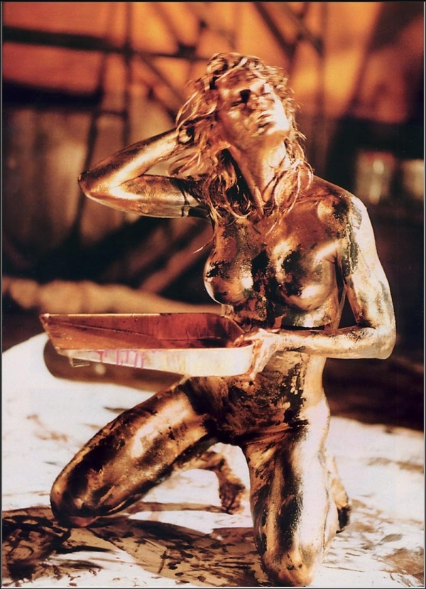 Farrah Fawcett covered in gold from Playboy; Babe Big Tits Blonde Celebrity