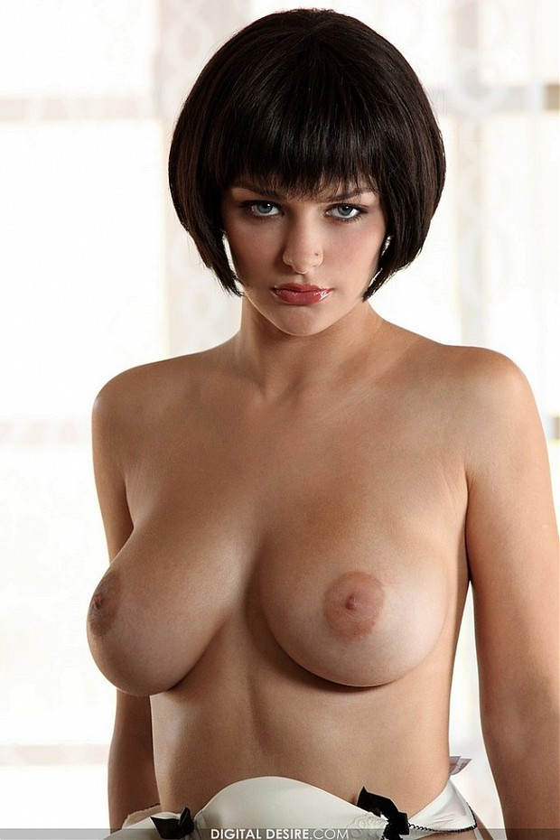 Brunette big natural boobs are