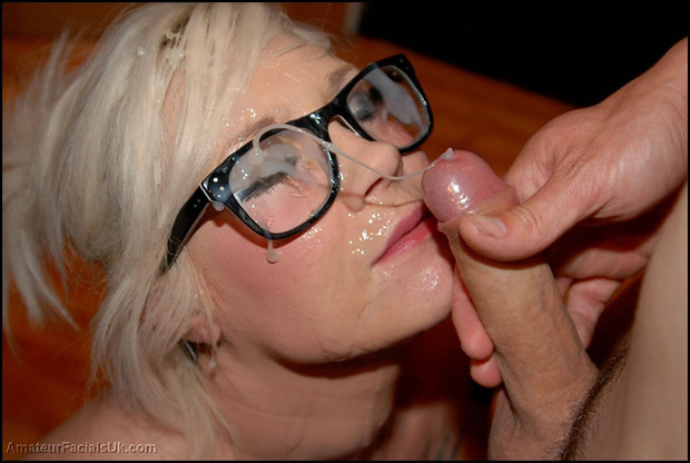 Blonde facial amateur glasses first time