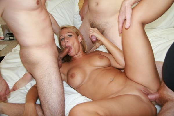 Gang bang on a hot blonde