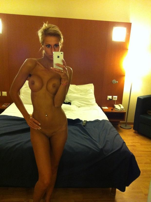 Tan blonde nude selfie