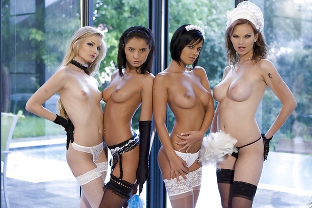 ...; Babe Big Tits Blonde Brunette Collar Fishnet Frenchmaid Lingerie Maid Nipples Panties Stockings Topless Uniform