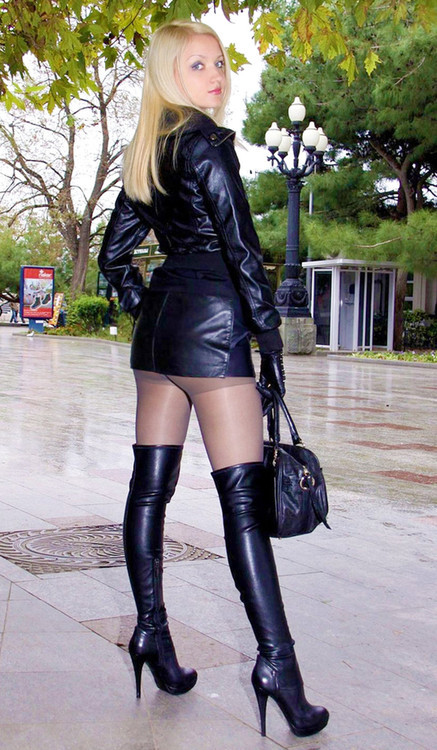 ...; Blonde Boots Fetish Leather Non Nude