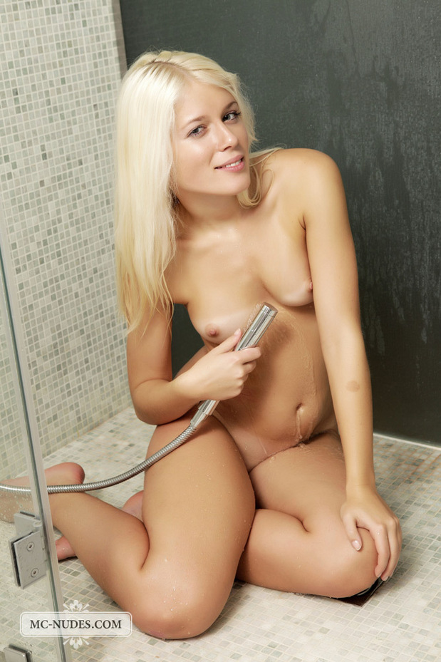 Sexy Sandra is having fun in the shower.; Blonde Hot