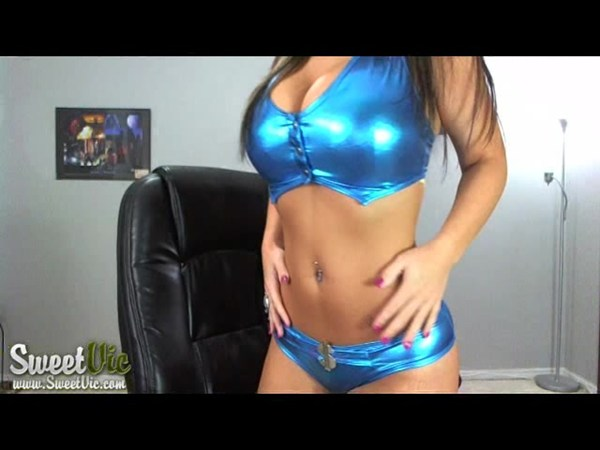 Sweet Victoria in Tight Shiny Blue; Amateur Babe Big Tits Striptease Webcam