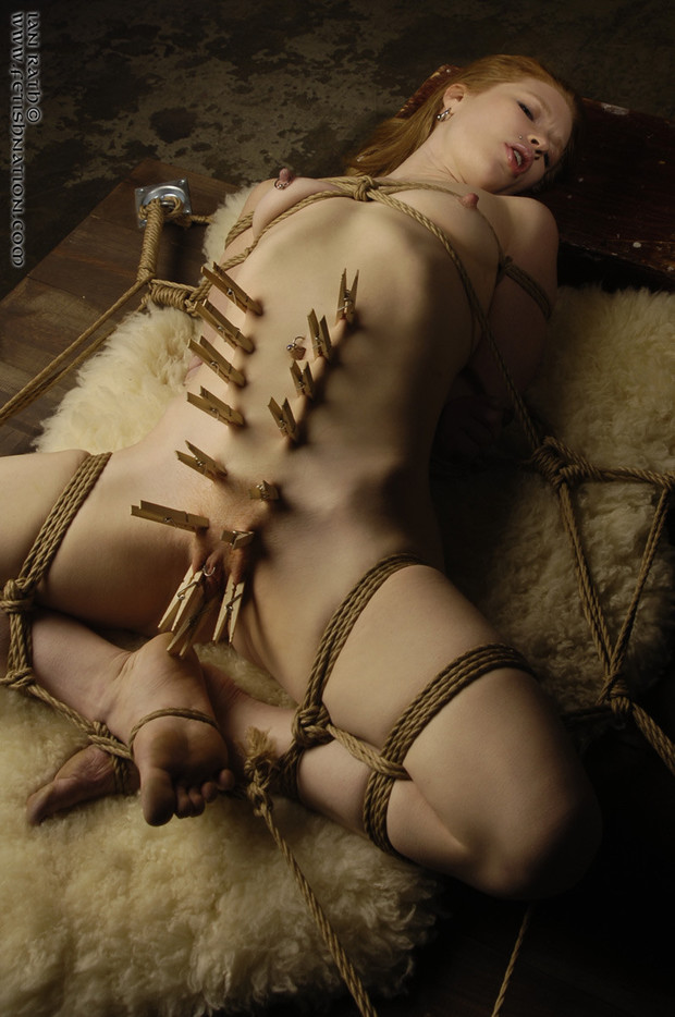 ...; BDSM Clothespins Rope Tied