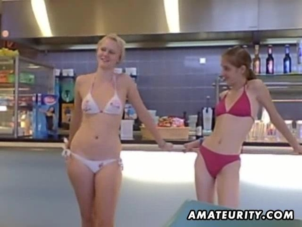 Hot Teen Girlfriends Masturbates After Having Fun In Ice Cream Store; Blonde Lesbian Striptease Teen Public